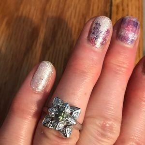 Demantoid garnet ring in sterling